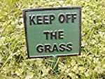 CAST IRON KEEP OFF THE GRASS SIGN