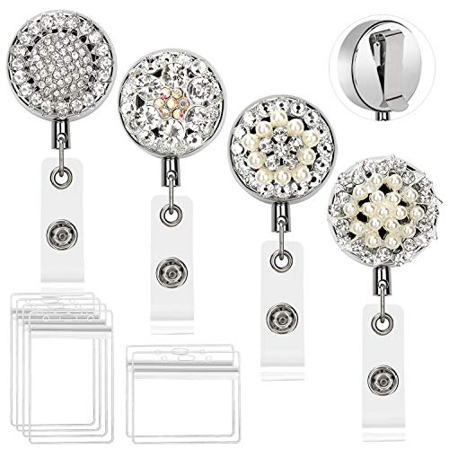 4 Pack ID Badge Holder Reel Clip Retractable, Metal Bling Badge Reel with Pearl & Rhinestone & 25 inch Long Steel Wire Cord & 6 Pcs Waterproof PVC ID Card Name Tag Holders by Colovis