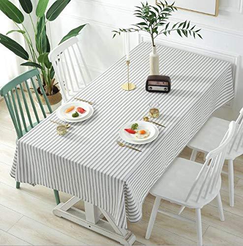 LYJZH Mantel de algodón y Lino de Color Liso a Rayas en casa Comedor Blanco Raya Raya Gris 120 * 160
