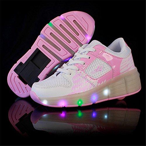 Sollomensi Zapatillas con Ruedas Sola Ronda Para Skate Zapatos Deportivas con Luces LED Niños Mujer Hombre-Rosa 32: Amazon.es: Ropa y accesorios