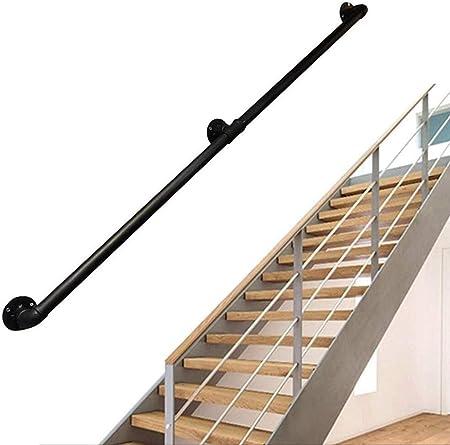 Barandillas Escalera de barandilla pasamanos de la escalera barandilla de seguridad |Rústicas Barandas negro |Hierro forjado galvanizado proceso de pintura antideslizante, apto for interiores y exteri: Amazon.es: Hogar