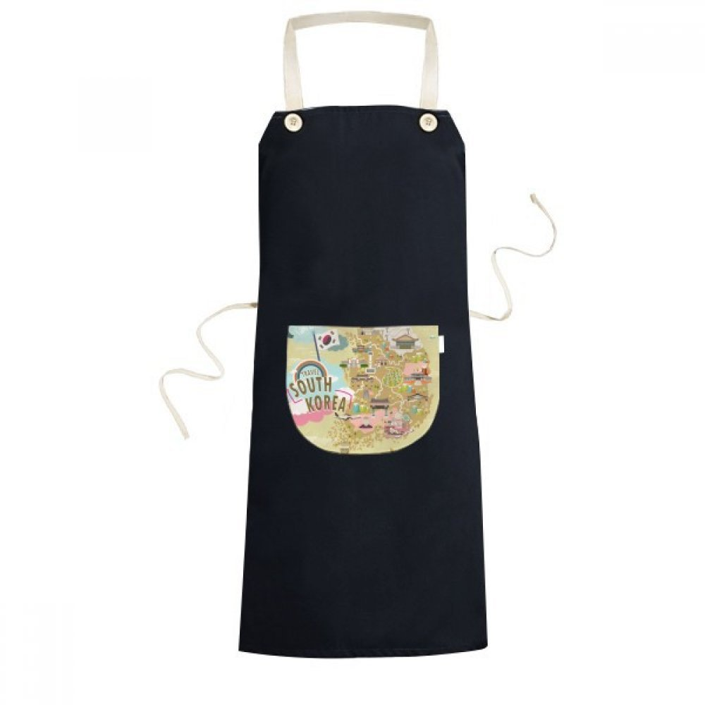 DIYthinker South Korea Map Love Travel Cooking Kitchen Black Bib Aprons With Pocket for Women Men Chef Gifts