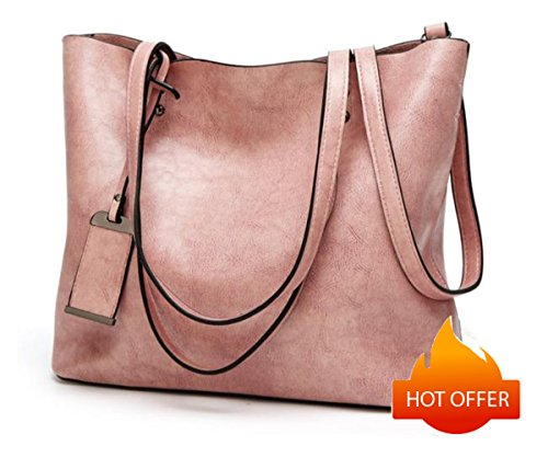 (Women Genuine leather Shoulder Bags Zipper Handbags for Women Top Handle Bag Tote Bags by YUNS (Pink))