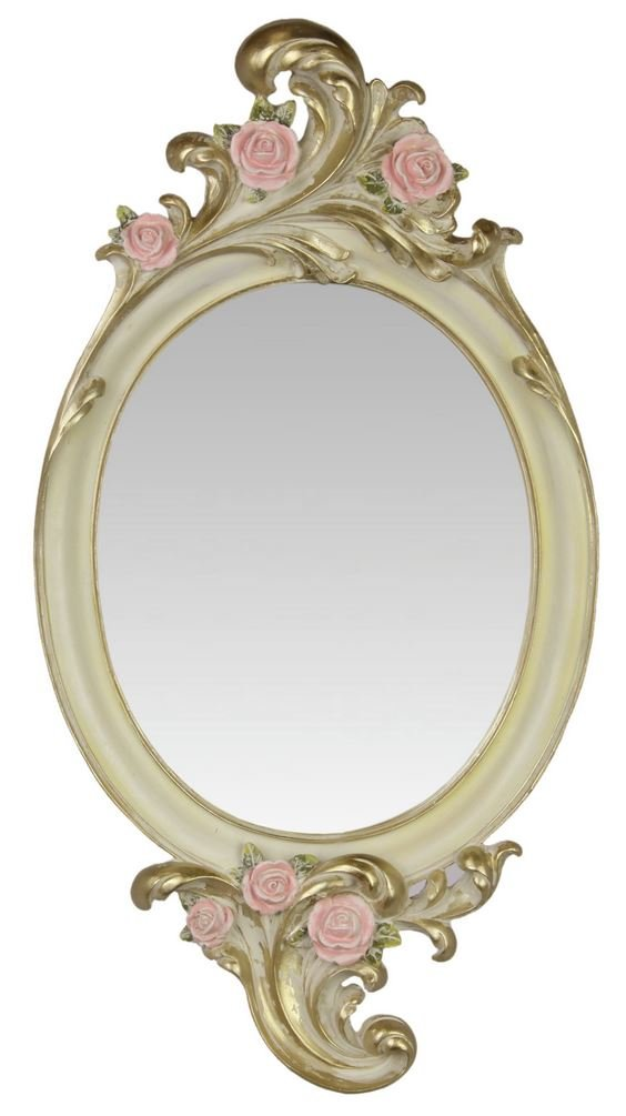 Casa-Padrino Art Nouveau Polyresin Wall Mirror Roses Cream/Gold 25.4 x H. 48.1 cm - Baroque & Art Nouveau Furniture Casa Padrino