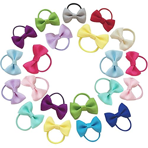 Baby Hair Ties Bows Kids Hair Tie Bands Ropes Hair Elastics Ponytail Toddler Fabric Mixed Colorful Hair Holder 20PCS