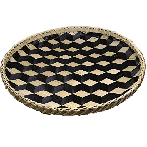 Woven Large Round Tray - Ann Lee Designs X-Large Handmade Round Basket Tray - Black