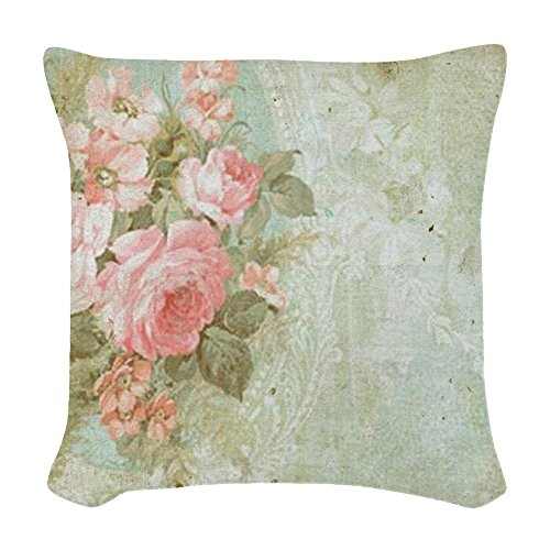 CafePress - Chic Vintage Pink Rose - Woven Throw Pillow, Decorative Accent Pillow