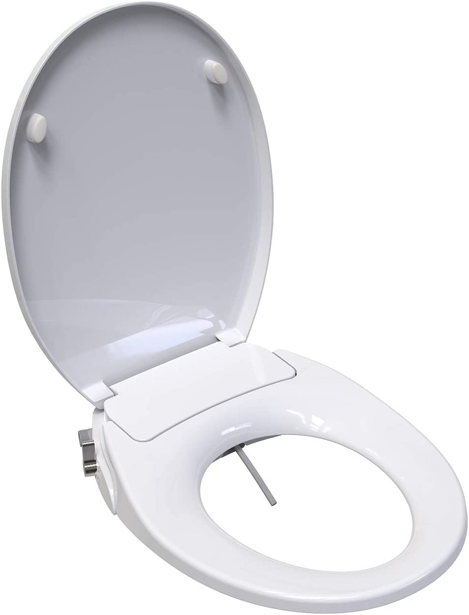 Saniwise Toilet Seat Round Bidet Toilet Seat With Self Cleaning Dual Nozzles Separated Rear Feminine Cleaning Natural Water Spray Soft Closed Round Toilet Seat Easy Diy Installation Amazon Com