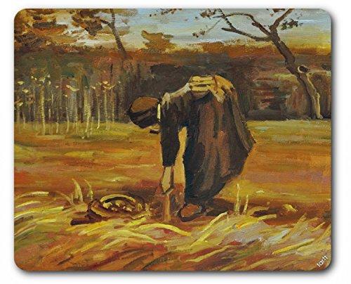 Digging Potatoes - Vincent Van Gogh Mouse Pad - Peasant Woman Digging Up Potatoes, 1885 (9 x 7 inches)