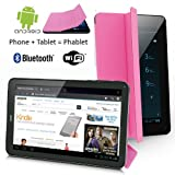 UNLOCKED! Pink 7.0'' GSM Android Smart Phone Tablet PC 3G Smartphone Dual Sim Built-in Smart Cover