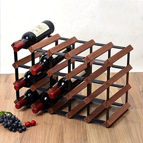 Yxsd Estante de vino de madera de 4 niveles, soporte de botella de madera de acero del metal independiente, organizador de...