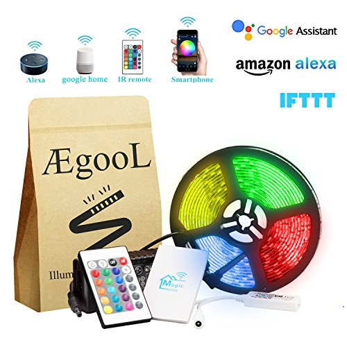Wi-Fi Smart Phone, Music & Remote Controlled LED Strip Light Kit with Timer, 12V Dimmable String Rope Light 16.4Ft 300LEDs 5050, via Android IOS App Alexa Google Home & IFTTT(Waterproof IP65)