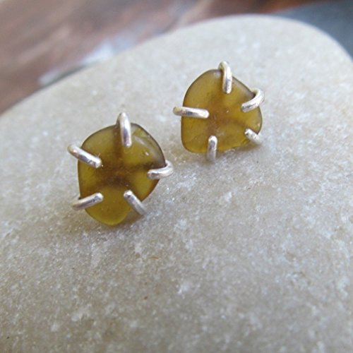 Brown Sea Beach Glass Stud Earrings Silver- Diana Anton Jewelry - Studs Soft Claw