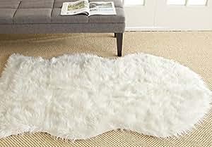 "Safavieh Faux Silky Sheepskin FSS115A Ivory Area Shag Rug (2'6"" x 3'9"")"