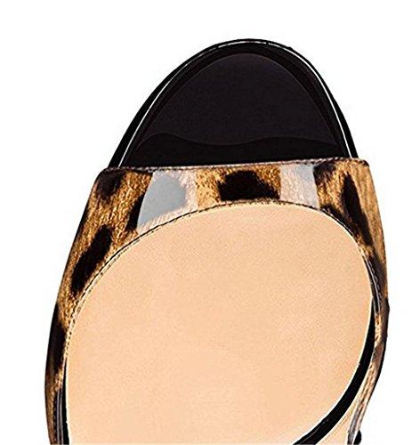 SZXC Mujer Zapatos De TacóN De Aguja Con Hebilla De La Correa Del Tobillo Del Dedo Del Pie Del PíO Sandalias Slingback , black leopard print , 35