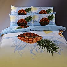 Suncloris,4pcs Queen Size Duvet Cover Set, 3d Pineapple Bedding Set Comforters Duvet Cover Quilt Bed Linen Sheet Bedspread