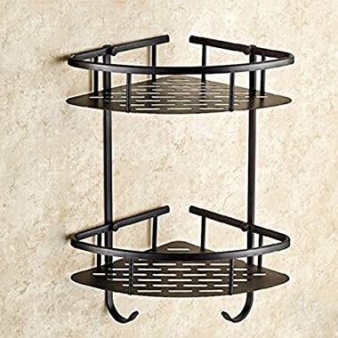 Senlesen Bathroom Dual Tiers Corner Shower Caddy Storage Bathroom Storage Rack Oil Rubbed Bronze