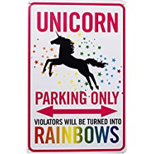 Fanghui Unicorn Decorative Signs Parking Only Tin Sign Funny Metal Wall Decorations For Kids Room Decor Gift For Girls 12x8 Inches