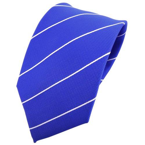 TigerTie cravate en soie bleu ultramarine argent rayé - cravate en soie