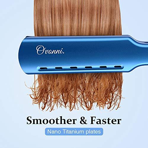 Ovonni Nano Titanium Hair Straightener Dual Voltage 1 3/4 Inch Wide Plate Flat Iron Professional Instant Heat Up Auto Shut Off Adjustable Temperature Straightener Iron for All Hair Types (1.75 inch)