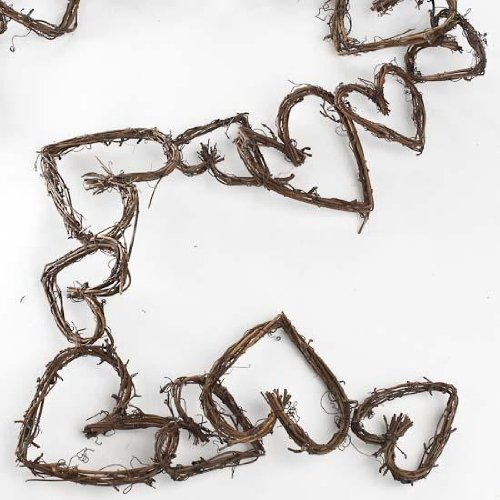 Heart Garland Wire (Decorative Natural Grapevine Twig Heart Garland for Home Decor and Embellishing)