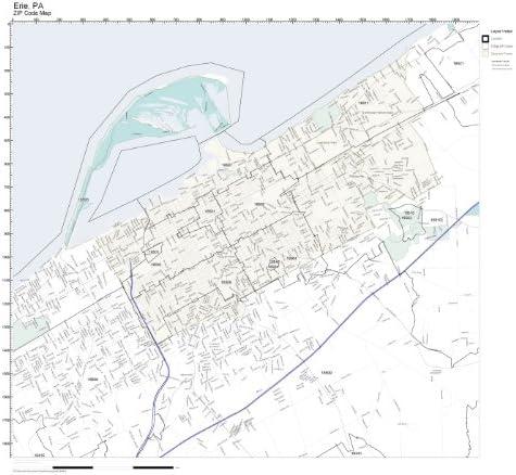 Amazon Com Working Maps Zip Code Wall Map Of Erie Pa Zip Code