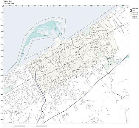 Amazon Com Zip Code Wall Map Of Erie Pa Zip Code Map Not