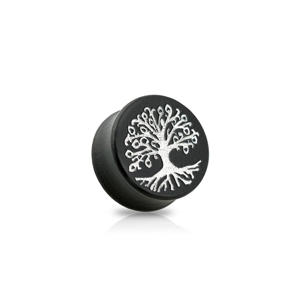 Dynamique Pair Of Double Flared Black Ebony Wood Saddle Plugs With Silver Tree Of Life Front