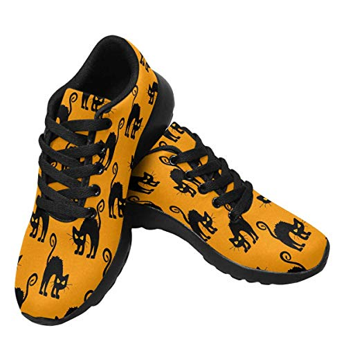 InterestPrint Womens Running Sneakers Lightweight Breathable Athletic Tennis Shoes US12 Halloween Background with Cats]()