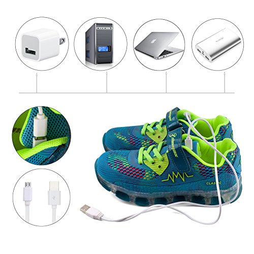 Shinmax Light Up Schuhe, LED Schuhe LED Turnschuhe Breathable 7 Farben Light Schuhe für Männer & Frauen, Kid Schuhe Blau