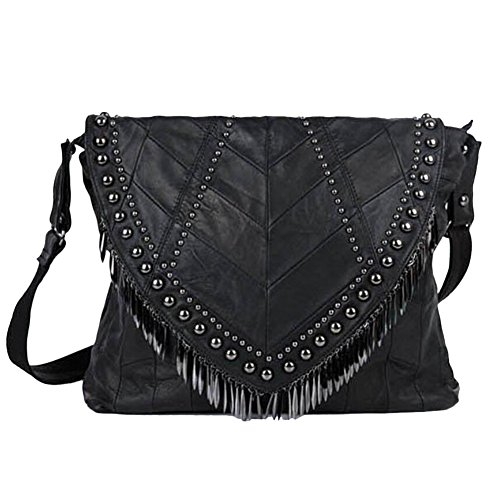 Women's Lamb Skin Patch Leather Rivet Tassels Handbag Black (Size L Measurement: 39 cm (L) x 9 cm (W) x 33 cm (H))