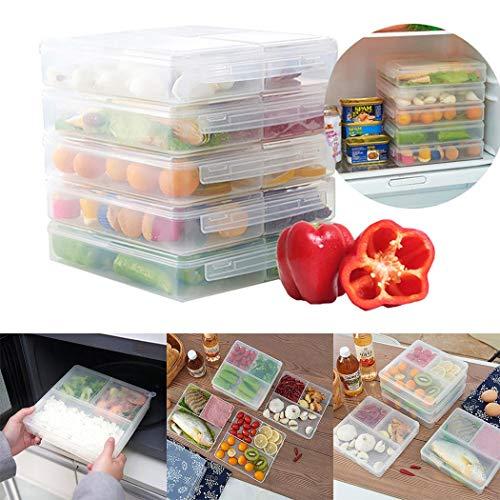 Recite Durable 3 Grid Transparent Food Storage Box Kitchen Storage Box Food Savers & Storage Containers