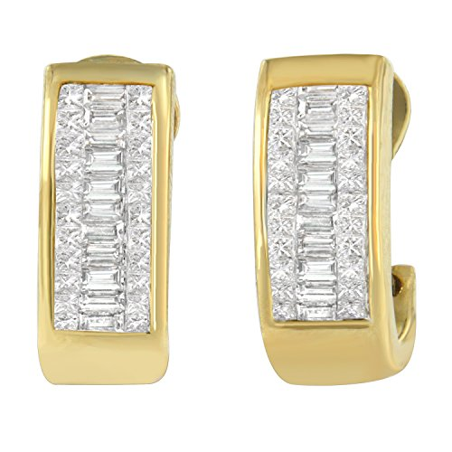 14K Yellow Gold Diamond Princess and Baguette Earrings (1.00 cttw, H-I Color, SI1-SI2 Clarity)