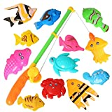 #10: 12PCS Fish Magnetic Fishing Toys Colorful Magnet Fishing Game with Fishing Rod for Kids Toddlers