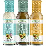 Primal Kitchen Avocado Oil 3 Pack Vinaigrette Dressing & Marinade (Ranch, Greek, Honey Mustard, 3 Count)