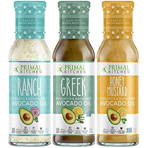 - Primal Kitchen Avocado Oil 3 Pack Vinaigrette Dressing & Marinade (Ranch, Greek, Honey Mustard, 3 Count)