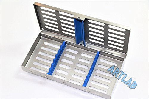 (GERMAN DENTAL AUTOCLAVE STERILIZATION CASSETTE RACK BOX TRAY FOR 7 INSTRUMENTS - BLUE ( CYNAMED ))