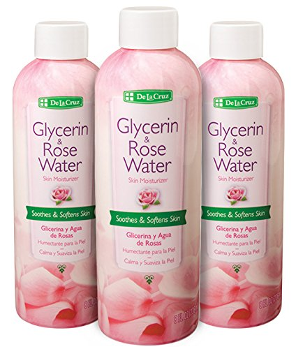 De La Cruz Glycerin and Rose Water, No Parabens Or Artificial Colors, Made in USA 8 FL. oz. (3 Bottles) ()