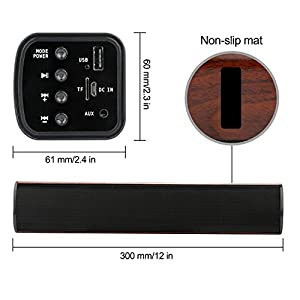 Soundbar Wireless Bluetooth Speaker DAMI Sound Bar with 3D Surround Stereo Home Speaker Wooden Color from DAMI