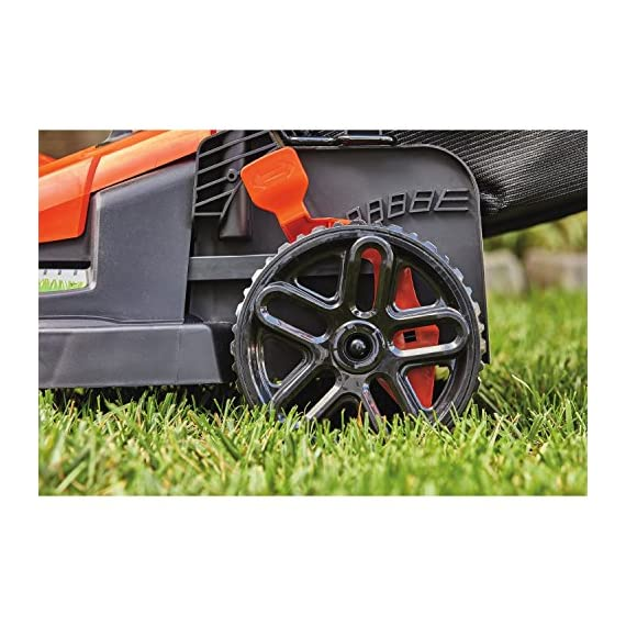 BLACK+DECKER Electric Lawn Mower, 10 -Amp, 15-Inch (BEMW472BH) 8 IMPROVED ERGONOMICS: Comfort grip handle makes the lawn mower easy to maneuver BETTER CLIPPING COLLECTION: Our winged blade achieves 30% better clipping collection NO MORE PULL CORDS: Push-button start makes starting the lawn mower a breeze