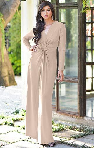 7852cb34b71fc KOH KOH Womens Long Sleeve Semi Formal Fall Winter Flowy Gown Maxi Dresses