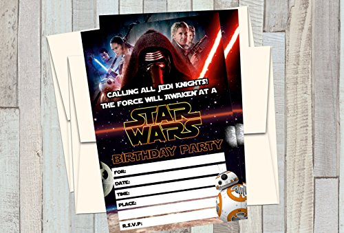12 STAR WARS - THE FORCE AWAKENS - Birthday Invitations (12 5x7in Cards, 12 matching white envelopes) ()