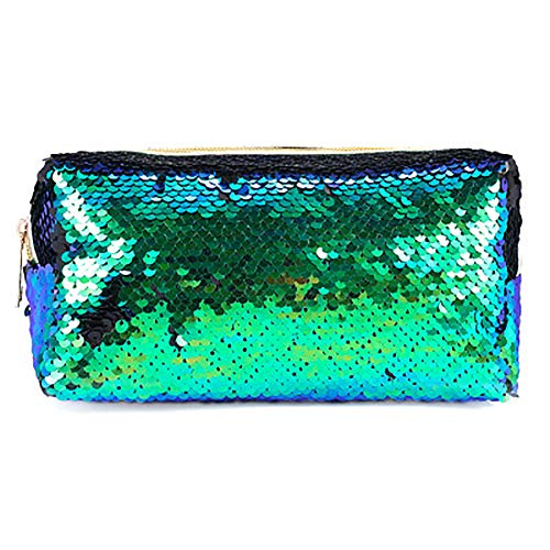 Starte Mermaid Sequin Cosmetic Bag Magic Sequins Color Changing Makeup Bags DIY Reversible Sequins Handbag Glitter Pencil Case(Green+Black) ()