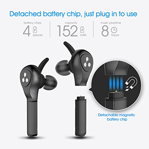 Wireless Earbuds Syllable Bluetooth Headphones Carried 4 Replaceable 80mAh Batteries, TWS Quick Connection In-Ear Running Wireless Headphones with 400mAh Smart Charging Case, Support Siri. Black by Syllable (Image #3)