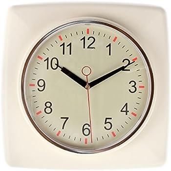 Lilyu0027s Home Square Retro Kitchen Wall Clock, Large Dial Quartz Timepiece,  Ivory, 11
