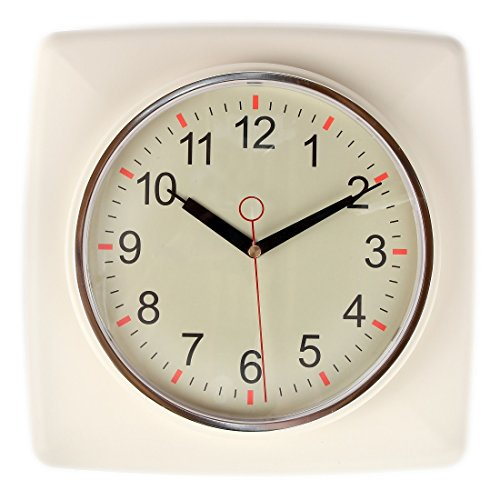 Lily's Home Square Retro Kitchen Wall Clock, Large Dial Quartz Timepiece, Ivory, 11