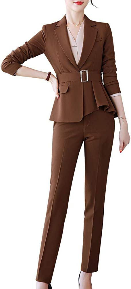 Women's Formal Two Piece Office Business Suit Set Slim Work Suits for Women Blazer Jacket&Pant/Skirt