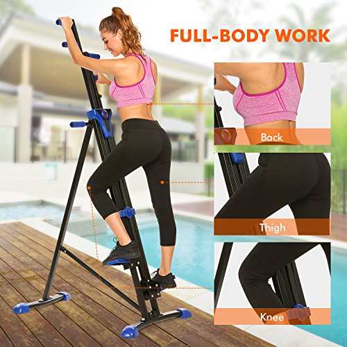 Hurbo Vertical Climber Home Gym Exercise Folding Climbing Machine Exercise Bike for Home Body Trainer Stepper Cardio Workout Training Non-Stick Grips Legs Arms Abs Calf (Black Blue) by Hurbo (Image #2)