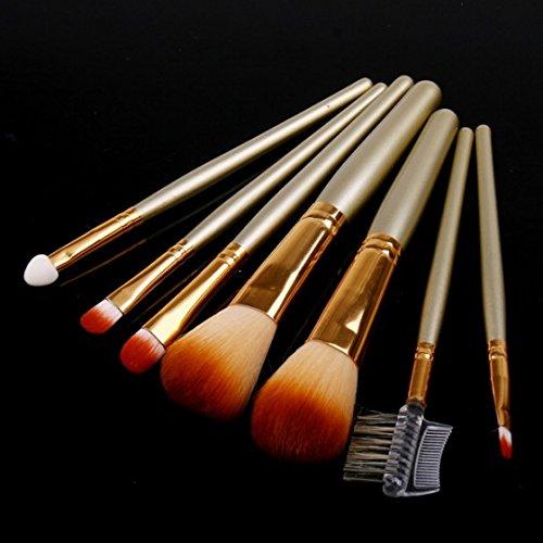 Kobwa(TM) Golden Lip Eyeshadow Sponge Eyebrow Wool Fiber Makeup Tools Brush Kits with Leather Case (7Pcs) with Kobwa's Keyring