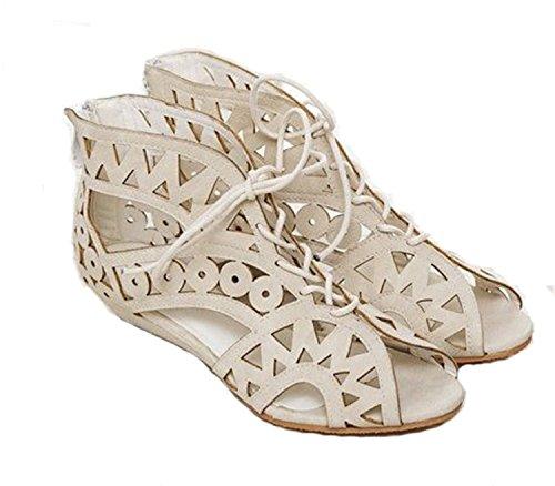 UNIOPLIIL Big Size 31-43 Fashion Cutouts Lace up Women Sandals Open Toe Low Wedges Bohemian Summer Shoes Beach Shoes Women AA516 White 12